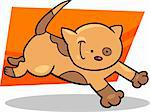 cartoon illustration of cute running spotted kitten Stock Photo - Royalty-Free, Artist: izakowski                     , Code: 400-06170803