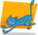 cartoon illustration of running blue tabby cat Stock Photo - Royalty-Free, Artist: izakowski                     , Code: 400-06170809