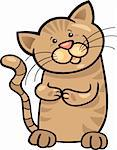 cartoon illustration of cute brown tabby kitten Stock Photo - Royalty-Free, Artist: izakowski                     , Code: 400-06170817