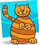 cartoon illustration of cute yellow tabby cat Stock Photo - Royalty-Free, Artist: izakowski                     , Code: 400-06170827