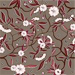 Decorative floral seamless pattern with red flowers. Stock Photo - Royalty-Free, Artist: tatianat                      , Code: 400-06170852