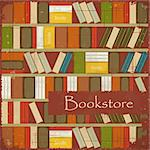 Vintage Bookstore Background - Bookcase Vector Background - Grunge style Stock Photo - Royalty-Free, Artist: elfivetrov                    , Code: 400-06170855