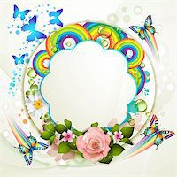 Background with roses and butterflies Stock Photo - Royalty-Freenull, Code: 400-06170895