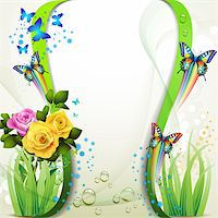 Background with roses and butterflies Stock Photo - Royalty-Freenull, Code: 400-06170896