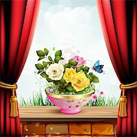 Flowerpot with roses and red curtain Stock Photo - Royalty-Free, Artist: Merlinul, Code: 400-06170907