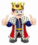 Cartoon illustration of a cute king with crown and cape giving a double thumbs up Stock Photo - Royalty-Free, Artist: Krisdog                       , Code: 400-06171142