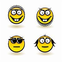 Cartoon faces. Set of fifth. Illustration for design on white background Stock Photo - Royalty-Freenull, Code: 400-06171163