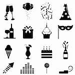 Party and celebration icon set Stock Photo - Royalty-Free, Artist: soleilc                       , Code: 400-06171387