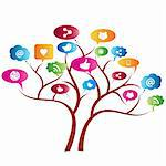Social network tree with symbols Stock Photo - Royalty-Free, Artist: soleilc                       , Code: 400-06171388