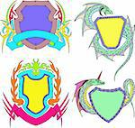 Stylized shield templates. Set of color vector illustrations Stock Photo - Royalty-Free, Artist: rocich                        , Code: 400-06171542