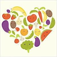 Fruits and vegetables heart shape, vector illustration Stock Photo - Royalty-Freenull, Code: 400-06171672