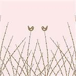 Beautiful spring willow twig and birds closeup Stock Photo - Royalty-Free, Artist: inbj                          , Code: 400-06171751