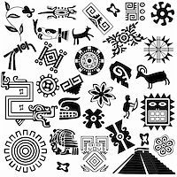 Vector of ancient american design elements on white Stock Photo - Royalty-Freenull, Code: 400-06171955