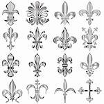 Vector set of metal Fleur-de-lis on white Stock Photo - Royalty-Free, Artist: sateda                        , Code: 400-06171956