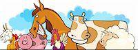 Cartoon illustration of Farm animals header design Stock Photo - Royalty-Freenull, Code: 400-06171974