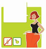Vector illustration of a lady enjoying diet's results Stock Photo - Royalty-Freenull, Code: 400-06171983