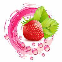 Strawberry with leafs and drops Stock Photo - Royalty-Freenull, Code: 400-06173458