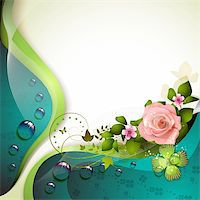 Background with flowers, butterfly and drops of water Stock Photo - Royalty-Freenull, Code: 400-06173465