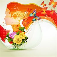Stylized red portrait with butterflies and flowers Stock Photo - Royalty-Freenull, Code: 400-06173466