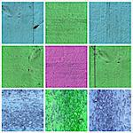 A collection of bright colored wood textures. Blue, green, purple background for design