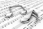 Silver musical notes on a  background written notes Stock Photo - Royalty-Free, Artist: FotoVika                      , Code: 400-06174191