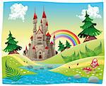 Panorama with castle. Cartoon and vector illustration. Stock Photo - Royalty-Free, Artist: ddraw                         , Code: 400-06174718