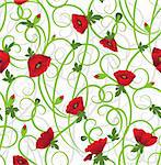 Poppy seamless background. Flower filigree vector. Art border pattern. Floral vintage design. Pretty cute wallpaper. Feminine filigree Stock Photo - Royalty-Free, Artist: svetap                        , Code: 400-06174900
