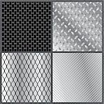 Vector illustration of four grey metal textures Stock Photo - Royalty-Free, Artist: katarinka                     , Code: 400-06175852