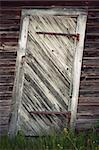 very uneven vintage wooden door with rusty metal details Stock Photo - Royalty-Free, Artist: PinkBadger                    , Code: 400-06176760