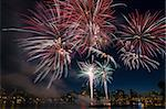 4th of July Fireworks Display in Portland Oregon Along Willamette River Waterfront Stock Photo - Royalty-Free, Artist: jpldesigns                    , Code: 400-06176773