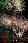 Fireworks Display Along Willamette River with Portland Oregon Skyline at Night Stock Photo - Royalty-Free, Artist: jpldesigns                    , Code: 400-06176972