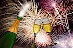Champagne Bottle and Two Flutes Toasting with Fireworks Background Stock Photo - Royalty-Free, Artist: jpldesigns                    , Code: 400-06176992