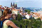 Stare Mesto (Old Town) view, Prague, Czech Republic and woman Stock Photo - Royalty-Free, Artist: Yuriy                         , Code: 400-06177037