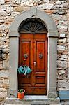 Wooden Ancient Italian Door in Historic Center Stock Photo - Royalty-Free, Artist: gkuna                         , Code: 400-06177115