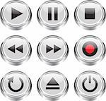 Multimedia control glossy icon/button set for web, applications, electronic and press media. Vector illustration Stock Photo - Royalty-Free, Artist: mmar                          , Code: 400-06177424