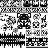 Vector image of ancient american pattern on white Stock Photo - Royalty-Freenull, Code: 400-06178132