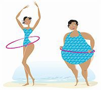 Slim and fat girls making exercises with bow on the beach Stock Photo - Royalty-Freenull, Code: 400-06179340