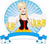 Label with funny German girl serving beer Stock Photo - Royalty-Free, Artist: Dazdraperma                   , Code: 400-06179934