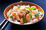 King prawns with grapefruit and mangetout on a bed of rice Stock Photo - Premium Royalty-Freenull, Code: 659-06184279