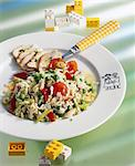 Rice salad with fried chicken breast Stock Photo - Premium Royalty-Freenull, Code: 659-06184498