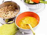 Rice with broccoli and carrots (baby food) Stock Photo - Premium Royalty-Freenull, Code: 659-06186109
