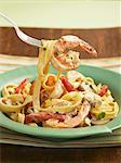 Shrimp Fettuccini Alfredo; On a Fork Stock Photo - Premium Royalty-Free, Artist: Westend61, Code: 659-06186587