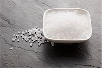 salt - Sea salt in a bowl and on a slate surface Stock Photo - Premium Royalty-Freenull, Code: 659-06187262