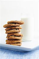 Stack of Chocolate Chip Cookies with a Glass of Milk Stock Photo - Premium Royalty-Freenull, Code: 659-06187309