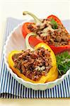 Peppers filled with minced meat, chanterelle mushrooms and buck wheat Stock Photo - Premium Royalty-Free, Artist: Photocuisine, Code: 659-06187399