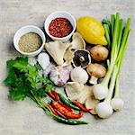 Ingredients for a mushroom dish Stock Photo - Premium Royalty-Free, Artist: Westend61, Code: 659-06187823