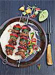 Grilled pork kebabs with zucchini and peppers Stock Photo - Premium Royalty-Freenull, Code: 659-06188107