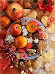 A Christmas arrangement of biscuits and fruit Stock Photo - Premium Royalty-Freenull, Code: 659-06188353