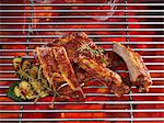 Spare ribs on a grill with vegetables Stock Photo - Premium Royalty-Free, Artist: Photocuisine, Code: 659-06188362