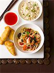 Fried noodles with prawns, rice and chilli sauce (Asia) Stock Photo - Premium Royalty-Freenull, Code: 659-06188383